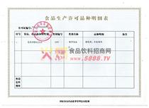 生产许可品种明细表