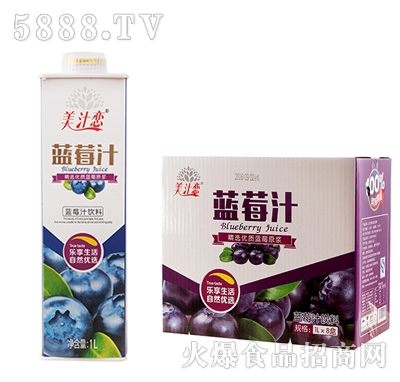 美汁恋1L蓝莓汁x8盒