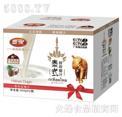 壹家泰式鲜榨椰汁600gX12