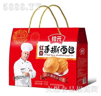 初元红豆手撕面包1000克礼盒