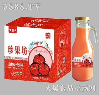 珍果坊山楂汁手柄瓶1.5Lx6瓶