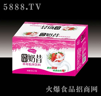 奇福记优果奶昔草莓乳味饮料450mlx15瓶