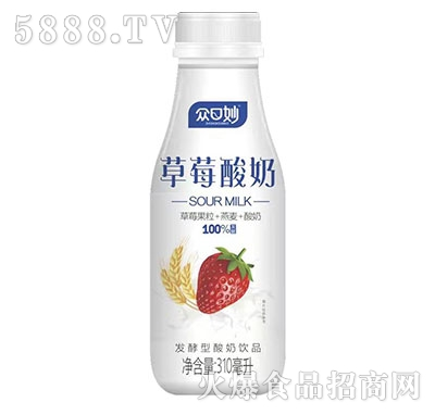 众口妙草莓果粒酸奶310ml