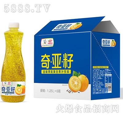 浩明奇亚籽金桔果粒复合果汁1.25Lx6瓶
