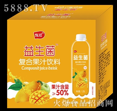 甄瑶芒果益生菌复合果汁饮料1.25L×6瓶