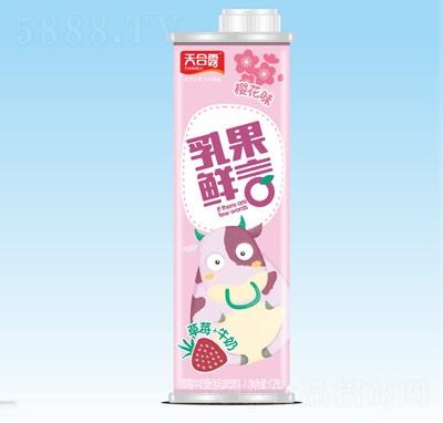 天合露乳果鲜言草莓牛奶复合乳味饮料樱花味1.25L