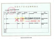 食品生产许可证明细表