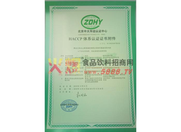 HACCP体系认证证书附件