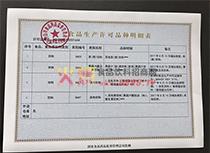 生产许可证明细表
