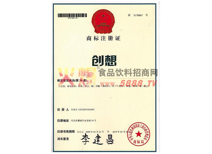 商标注册证(创想)