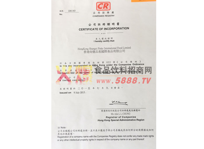 公司注册证明