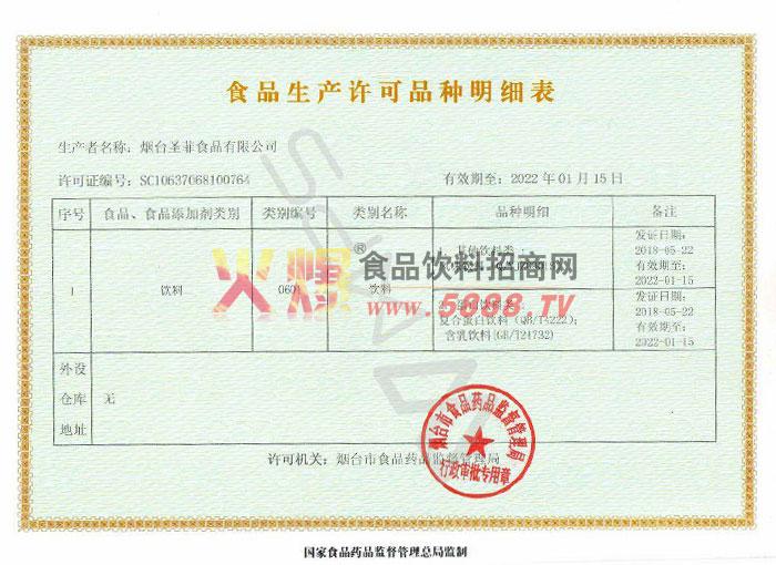 食品生产许可品种明细表证