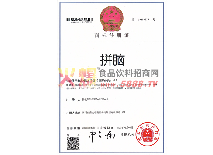 拼脑商标注册证