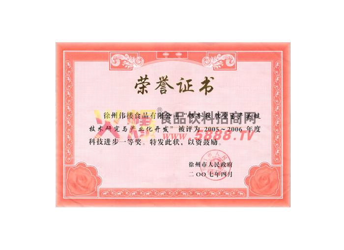 徐州科技进步证书