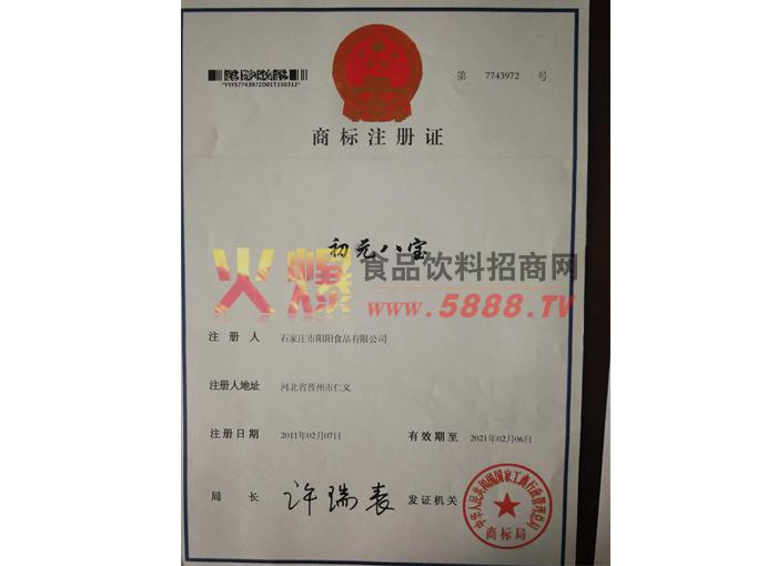 初元八宝商标注册证