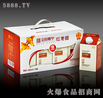 480mlX8瓶经典红枣醋手提礼盒内装