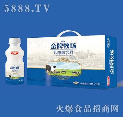 京天金牌牧场乳酸菌饮品338gx12瓶