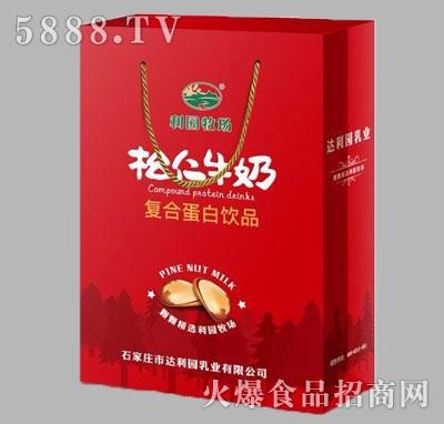 利园牧场松仁牛奶复合蛋白饮品手提袋(红)