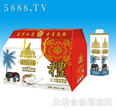 金满湾泰式生榨椰子汁植物蛋白饮料600mlx6瓶礼盒装