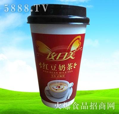 玫日美红豆奶茶含红豆颗粒