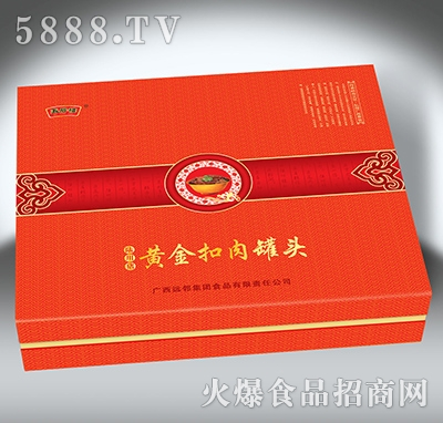 陆川猪黄金扣肉罐头礼盒-4x340克
