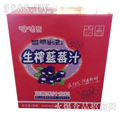 韩一生榨蓝莓汁蓝莓果汁饮料1000mlx6瓶