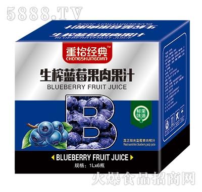 重拾经典生榨蓝莓果肉果汁1Lx6瓶
