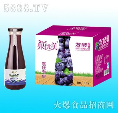果优美益生菌发酵蓝莓汁1Lx6瓶