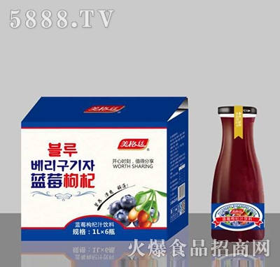 美格丝蓝莓枸杞汁饮料1Lx6瓶