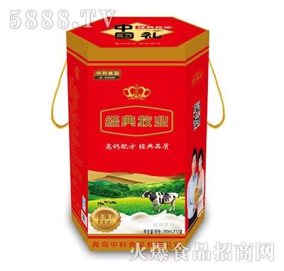 中科经典牧业红色圆桶礼盒