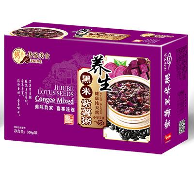 养生黑米紫薯粥