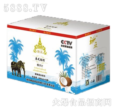 珊亚泰式鲜榨椰子汁600mlx15瓶