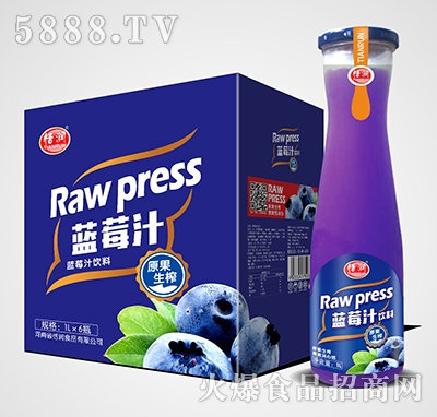 恬润磨砂瓶蓝莓汁1Lx6瓶
