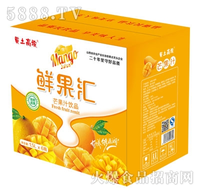 黄土高坡鲜果汇芒果汁1.5LX6瓶