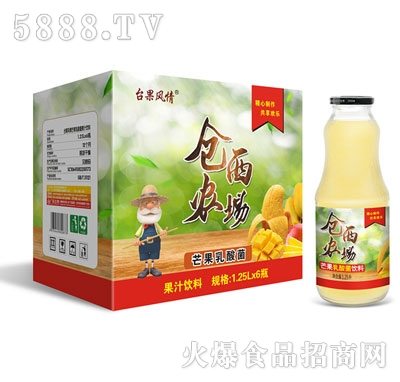 仓西农场芒果乳酸菌1.25Lx6瓶