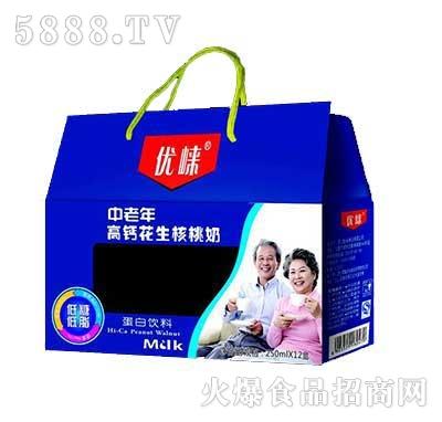 优崃中老年高钙花生核桃奶250MLX12手提装