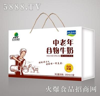 北大荒集团中老年谷物牛奶高钙低糖250mlx12盒