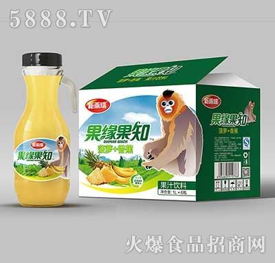 新雨瑞果缘果知菠萝+香蕉果汁饮料1LX6瓶