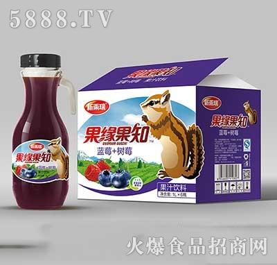 新雨瑞果缘果知蓝莓+树莓果汁饮料1LX6瓶