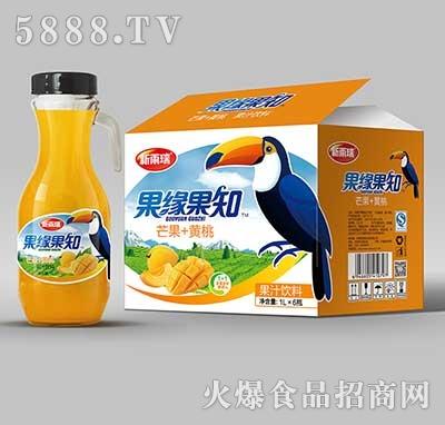 新雨瑞果缘果知芒果+黄桃果汁饮料1LX6瓶