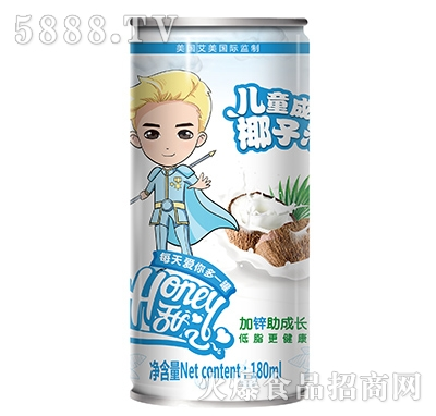 Honey甜心儿童成长椰子汁180ml男罐