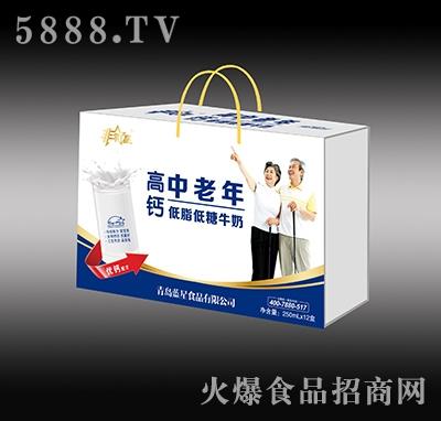 非常星高钙中老年牛奶250mlx12盒