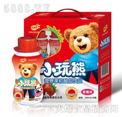 三剑客小玩熊儿童营养奶草莓蕉味200mlx16瓶ml