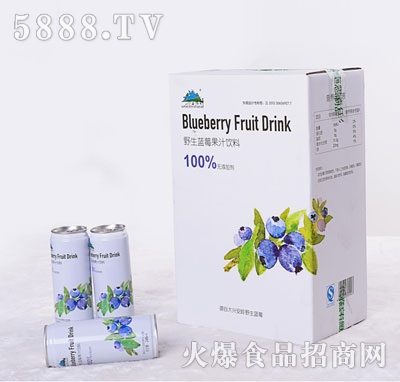 兴安精神野生蓝莓果汁饮料248mlX24罐