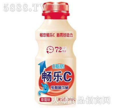 畅乐C草莓味乳酸菌饮品340ml