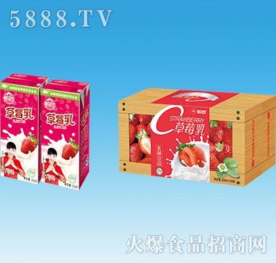 鹤园草莓乳果味饮料手提250mlx20盒
