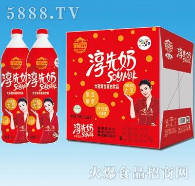 鹤园淳先奶原味豆奶1.5Lx6瓶