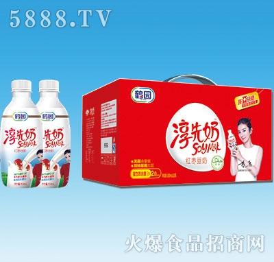 鹤园淳先奶红枣豆奶350mlx12瓶