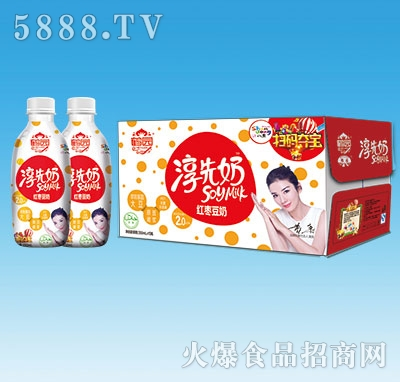 鹤园淳先奶红枣豆奶饮品350mlx15瓶