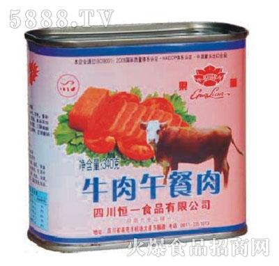 莲牌340克牛肉午餐肉产品图